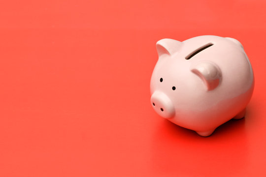 .Pink piggy Bank stands on the right on a red background with a shadow. On the left there is a place in copyspace.