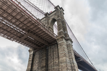 Fototapete - View with Brooklyn bridge in New York