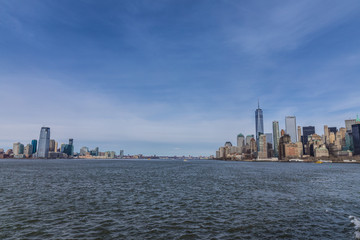 Fototapete - Panorama with Manhattan and Jesey city