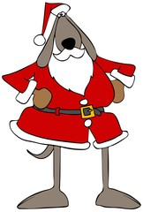 Illustration of a brown dog wearing a Santa Claus outfit.