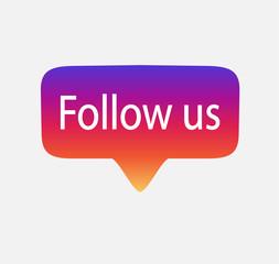 Follow us vector illustration  EPS 10.Social media Button Follow us set gradient isolated counter notification.Follow us background Instagram logo, image, jpeg, symbol, sign, ui.