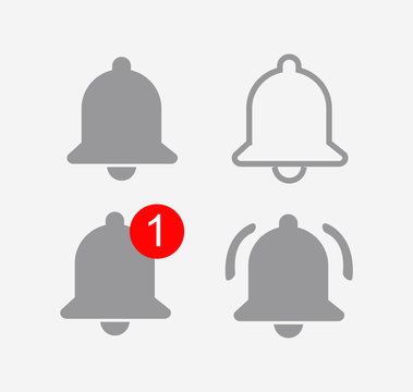 bell youtube icon set. bell youtube ui. notification youtube