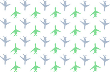 set symbol airplane green gray icon background based white base many figures contrasting movement top down