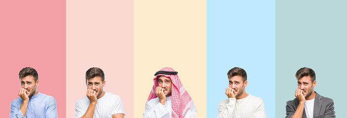 Collage of handsome young man over colorful stripes isolated background looking stressed and nervous with hands on mouth biting nails. Anxiety problem.