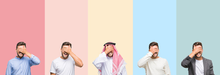 Collage of handsome young man over colorful stripes isolated background smiling and laughing with hand on face covering eyes for surprise. Blind concept.