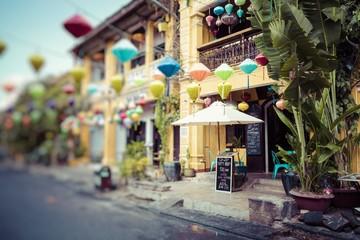 Hoian Ancient town houses. Colourful buildings with festive silk lanterns. UNESCO heritage site. Vietnam.