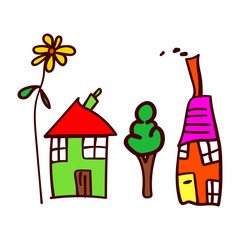 Childrens drawing with houses, tree and flower