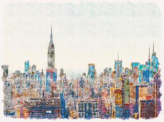 Aerial view of the New York City skyline near Midtown watercolor painting - fototapety na wymiar