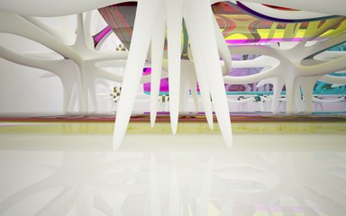 Abstract dynamic interior with white smooth objects and  colored glass lines. 3D illustration and rendering