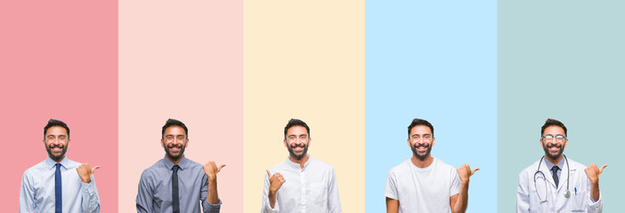 Collage of handsome man over colorful stripes isolated background smiling with happy face looking and pointing to the side with thumb up.