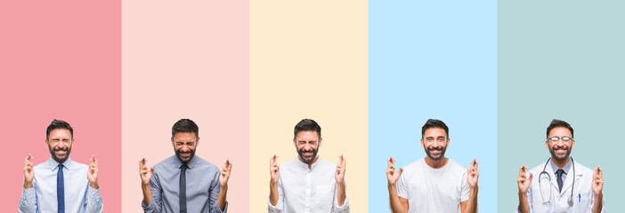 Collage of handsome man over colorful stripes isolated background smiling crossing fingers with hope and eyes closed. Luck and superstitious concept.