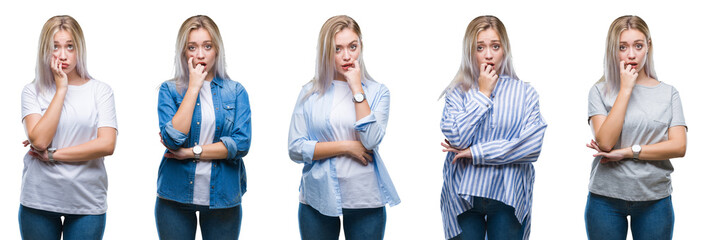 Collage of beautiful blonde young woman over isolated background looking stressed and nervous with hands on mouth biting nails. Anxiety problem.