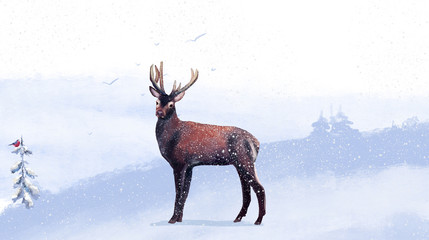 Winter landscape with stag. Winter forest. Digital drawing