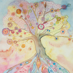 Whimsical tree of life with pastel colors. The dabbing technique near the edges gives a soft focus effect due to the altered surface roughness of the paper..