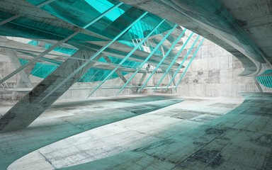 Empty dark abstract glass turquoise and concrete smooth interior. Architectural background. 3D illustration and rendering