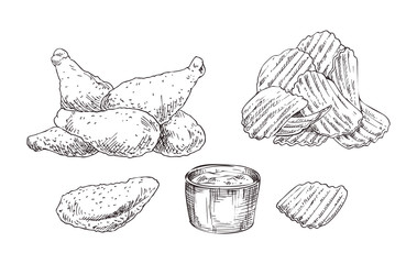 Chicken Nuggets and Chips Sketch Style Icon Set