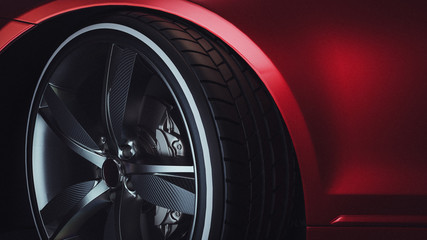 Close-up of a modern luxury car wheels.