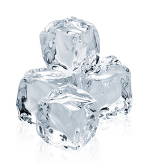 clear ice cubes pile isolated on white background