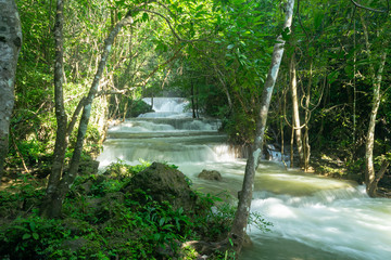 Tropical rainforest and waterfall at Huai Mae Khamin in Kanchanaburi, Thailand