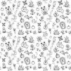 vector seamless pattern with cute forest animals, trees, flowers and birds,black and white, elements from simple geometric shapes