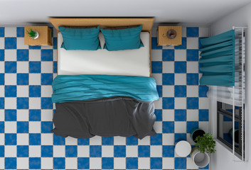 top view of interior bedroom. 3D render