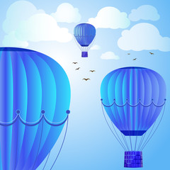 Large colored balloons soar against the bright sky, clouds and birds. Vector illustration for your design.