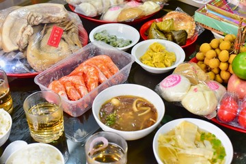 Variety of Foods During Chinese Hungry Ghost Festival or Zhongyuan Jie