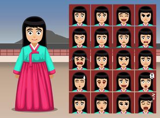 Korean Girl Cartoon Emotion faces Vector Illustration