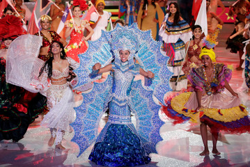 Miss Panama Solaris Barba performs during the 68th Miss World pageant in Sanya