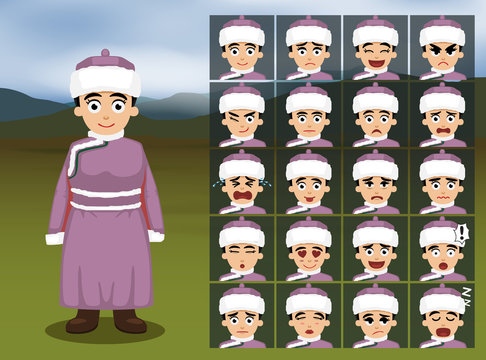 Mongolian Girl Cartoon Emotion faces Vector Illustration