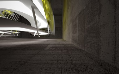 Empty white abstract brown concrete smooth interior with yellow glass . Architectural background. 3D illustration and rendering