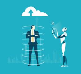Robot scanning businessman personal data