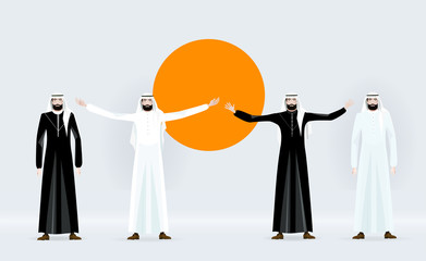 Group of Arabic business people. Concept of success, leadership and victory in business