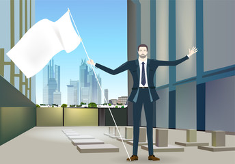Successful businessman with wide open hands in the big office space. Winning, leading and success theme illustration. Business concept collection.