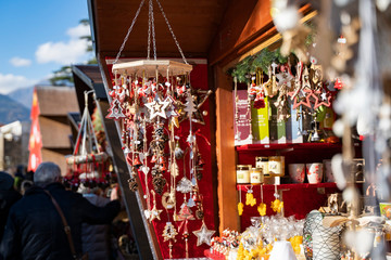 Handmade christmas decoration made out of natural materials on the christmas market of merano in south tyrol, Italy
