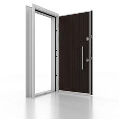 Metal door. 3D rendering. 3D illustration