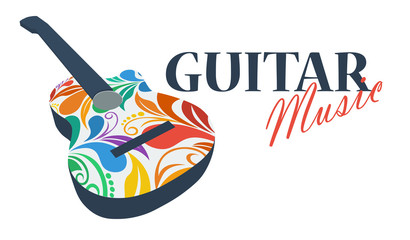 Musical logo. Silhouette of a guitar made from floral pattern. Bright juicy colors. The concept of classical music. Beautiful swirls. Spanish musical instrument. Flamenco.