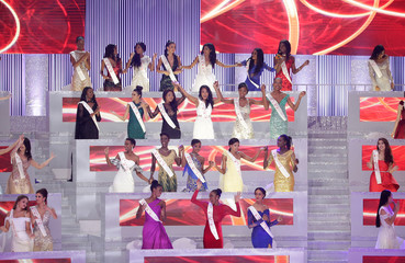 Contestants take part in the 68th Miss World pageant in Sanya