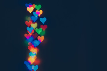 abstract colorful background lights with hearts