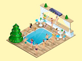 Isometry New Year party on the beach, 3D girls dance, disco, Ibiza, disco in the hotel at the pool, holiday christmas decorated Christmas tree