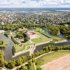 Fortifications of Kuressaare episcopal castle (star fort, bastion fortress) built by Teutonic Order, Saaremaa island, western Estonia, aerial view.