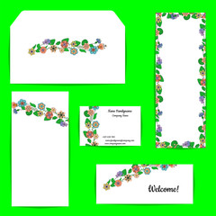 Card template with a floral motif on white background. Hand drawn style flowers.