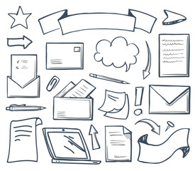 Office Correspondence and Laptop Icons Set Vector