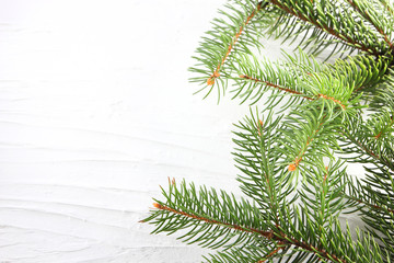 Christmas tree branches on white background. Christmas card blank. Christmas tree needles on natural background. Holiday card. Green branches and copy space