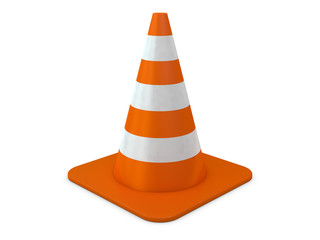 Orange plastic cone with reflective stripes isolated on white background. 3D