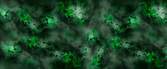 Fototapete - green nebula and cosmos as background, illustration