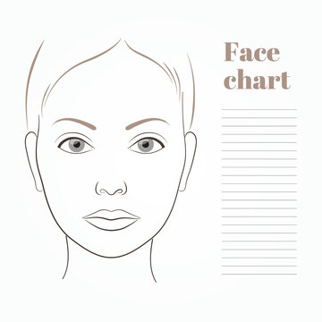 Face chart for makeup artist. Template page. Vector illustration. For notes.