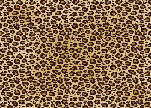 Leopard spotted fur texture. Vector repeating seamless orange black
