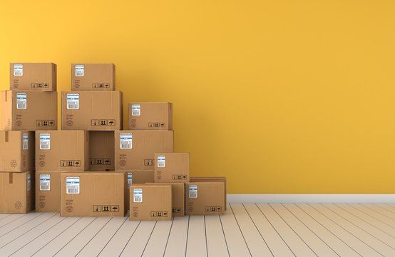 Moving boxes  empty room in front of a yellow wall 3D Rendering