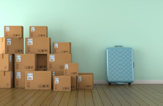 Moving boxes and valise in empty room in front of a blue wall (3D Rendering)